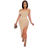 Beige Off-Shoulder Women Rainstones Bodycons Midi Dress