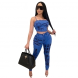 Blue Sleeveless Off-Shoulder Printed Women 2PCS Sexy Jumpsuit