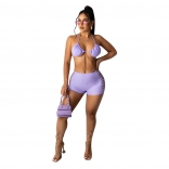 Purple Halter Sexy Hollow-out Women Short Sets