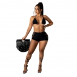 Black Halter Sexy Hollow-out Women Short Sets
