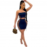 RoyalBlue Sleeveless Off-Shoulder Bandage Jeans Sexy Mini Dress