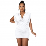 White Sleeveless Folded O-Neck Women Sexy Mini Dress