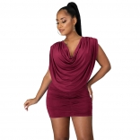 Red Sleeveless Folded O-Neck Women Sexy Mini Dress