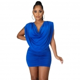 Blue Sleeveless Folded O-Neck Women Sexy Mini Dress