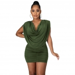 Green Sleeveless Folded O-Neck Women Sexy Mini Dress