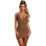 Coffee Halter V-Neck Bodycons Night Club Bodycon Dress