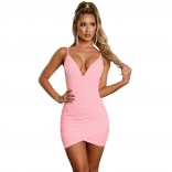 Pink Halter V-Neck Bodycons Night Club Bodycon Dress